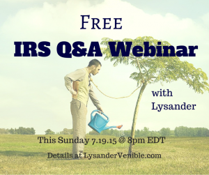 Join us this Sunday night for a FREE IRS Q&A Webinar!